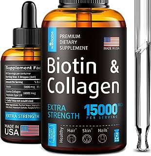 Premium Biotin & Collagen Hair Growth Drops - Potent US Made Hair Growth Product - Healthy Skin & Nails - Liquid Biotin & ...