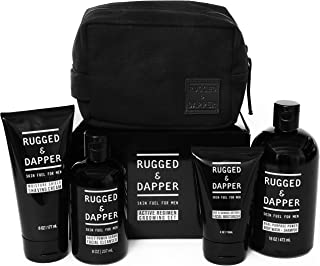 RUGGED & DAPPER Active Regimen Grooming Set for Men, Includes Four Premium Skincare Products and Dopp Bag