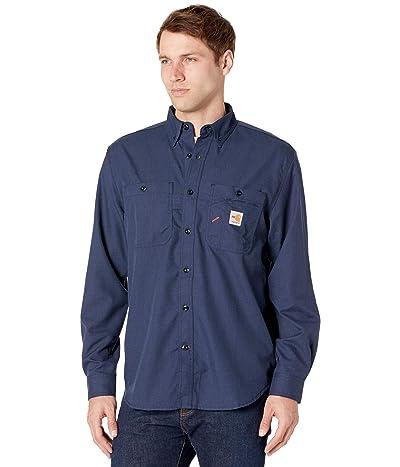 Carhartt Flame-Resistant Force Original Fit Lightweight Long Sleeve Button Front Shirt (Navy) Men