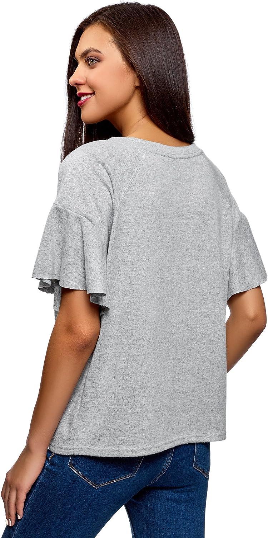 oodji Ultra Mujer Camiseta Recta con Volantes en Las Mangas