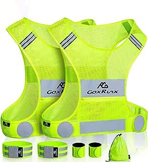 GoxRunx 2 Pack Reflective Vest Running Gear, Ultralight & Comfy Cycling Reflective Vests with Large Pocket & Adjustable Waist for Women Men, Night Runner Safety Vest + Hi Vis Armbands & Bag