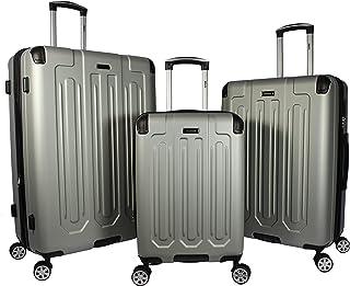 Dejuno Tutin 3-Piece Hardside Spinner Luggage Set with TSA Lock, Silver