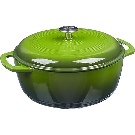 Amazon Basics Enameled Cast Iron Covered Dutch Oven, 4.3-Quart, Green