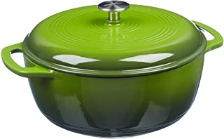 AmazonBasics Enameled Cast Iron Covered Dutch Oven, 4.3-Quart, Green