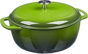 AmazonBasics Enameled Cast Iron Covered Dutch Oven, 7.3-Quart, Green
