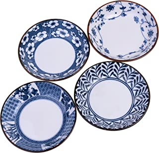 Beautyflier Pack of 4 Assorted Color Ceramic Sauce Dishes Leaves Pattern Plates Serving Saucers Bowl For Sushi Appetizer Japanese Style Dinnerware Set Snack