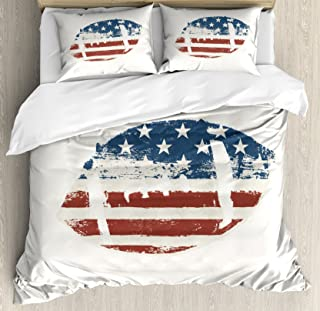 Ambesonne Sports Duvet Cover Set, Grunge American Flag Themed Stitched Rugby Ball Vintage Design Football Theme, Decorative 3 Piece Bedding Set with 2 Pillow Shams, Queen Size, Cream Blue