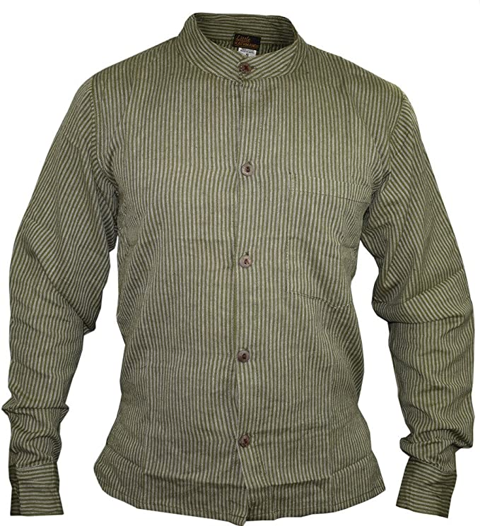 Mens Vintage Shirts – Casual, Dress, T-shirts, Polos Gheri Mens Button Down Striped Grandad Nepalese Shirts £17.99 AT vintagedancer.com