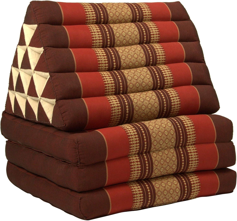 Fine Asianliving Thai Cushion Three-Fold 80x190cm Triangle Cushion XXXL 8 Roll Seat Burgundy Orange