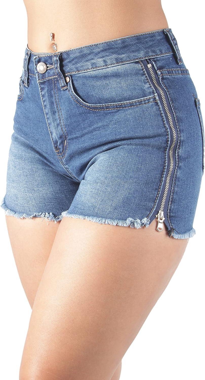 Fashion2Love Women's Juniors Stretch Denim Booty Short Shorts