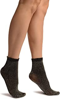 Black With Silver Lurex Comfort Top Ankle High Socks - Negro Calcetines Talla unica (37-42)