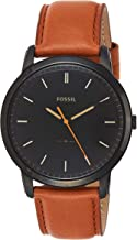Fossil Men's Minimalist Stainless Steel and Leather Slim Casual Quartz Watch