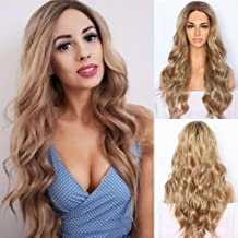QD-Udreamy Ombre Brown Blonde Synthetic Lace Front Wigs Natural Wavy Hair Realistic Looking Lace Front Wig Natural Hairline Heat Resistant Fiber Wigs for Women 24inch