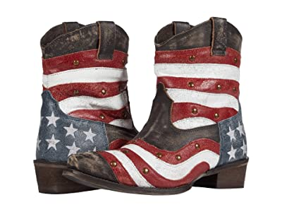 Roper American Beauty Swirl (Wavy Flag Vamp/Brass Studs) Cowboy Boots
