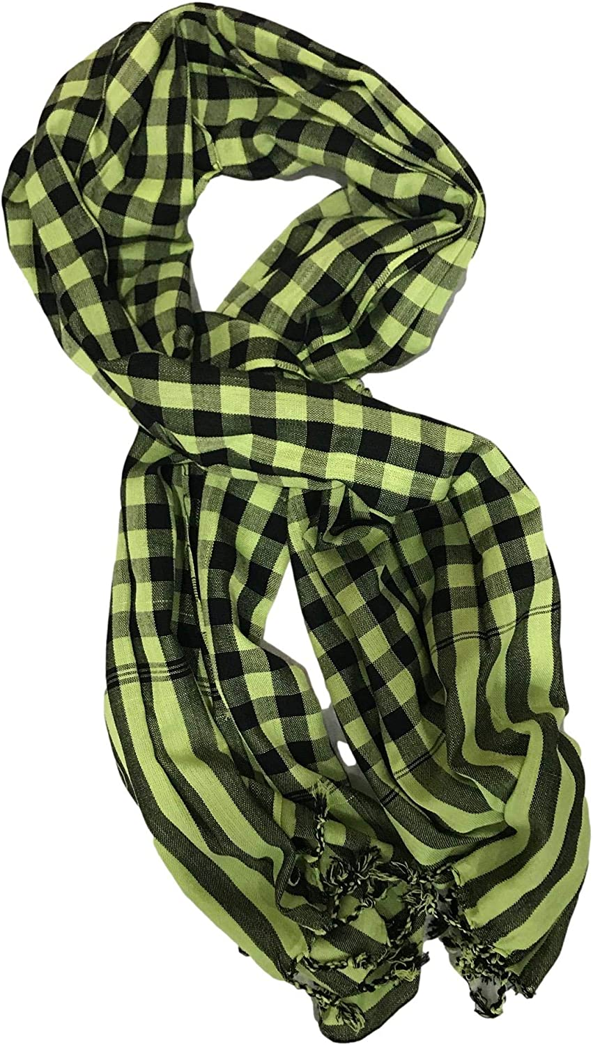 Cotton Handmade Colorful Super Soft Plaid Scarf Wrap with Fringe Ends Medium 29x67 Fashion Accessory for Women and Men Unisex