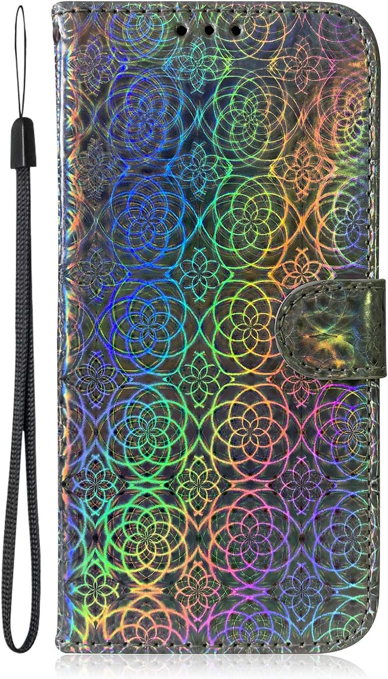 for iPhone 6/6S Glitter Wallet Case with Wrist Strap,Bling Iride