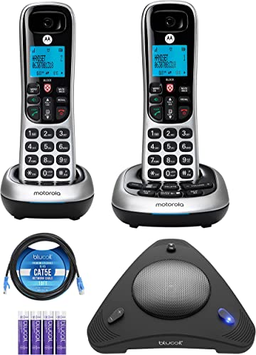lowest Motorola CD4012 DECT 6.0 Cordless Phone with online sale Answering Machine and Call Block, lowest Silver/Black, 2 Handsets Bundle with Blucoil 4 AAA Batteries, 10-FT 1 Gbps Cat5e Cable, and USB Conference Speakerphone online
