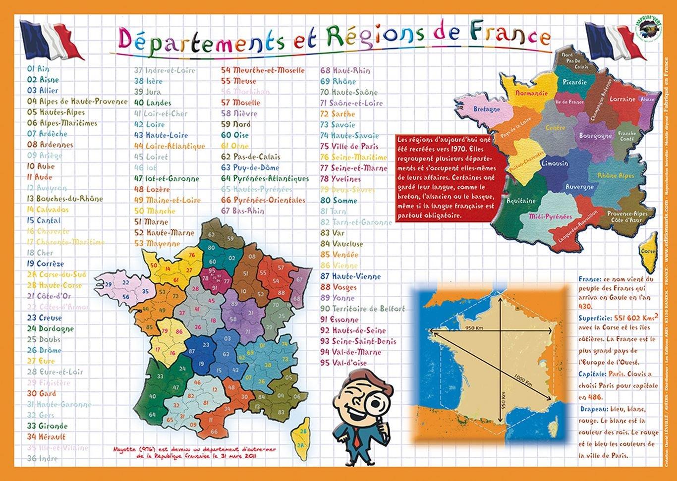 Editions Aris - Mantel Individual Educativo, diseño con mapas de Las regiones y provincias de Francia, Textos en francés: Amazon.es: Hogar
