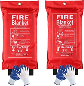 Remibel 2Pack Fire Suppression Blanket Fiberglass Emergency Fire Safety Blanket, High Temperature Resistant Fire Retardant Blanket for Home, Kitchen, BBQ, Car, Easy to Use