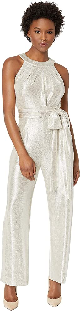 Petite Metallic Halter Neck Jumpsuit