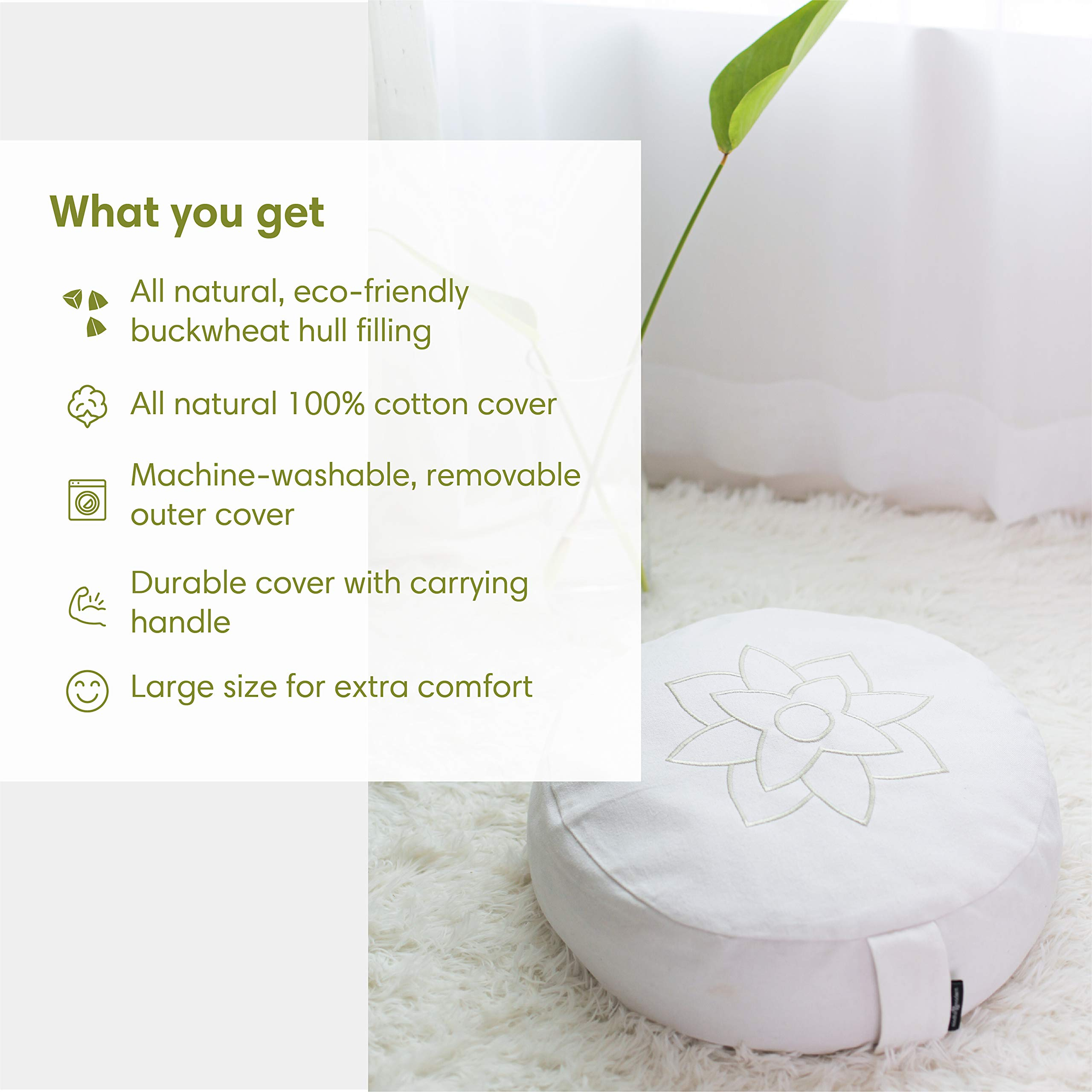 Buckwheat Hull Filled Half Moon Cushion with Removable Cover Carry Handle Travel Meditation Pillows for Sitting on Floor Mindful and Modern Compact Meditation Cushion