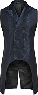 Men's Gothic Steampunk Vest Double Breasted Jacquard Brocade Waistcoat