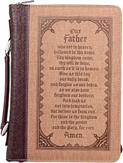 Bible Cover, The Lord's Prayer, Two-Tone Brown, Large