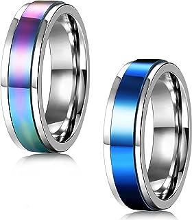 FIBO STEEL 2 قطعة 6-8MM الفولاذ المقاوم للصدأ حلقات دوارة للرجال النساء الوعد، حجم 5-13