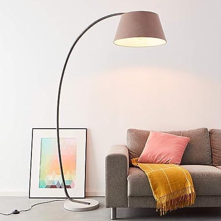 Lampe sur pied arqué élégante 1,9 x 1,2 m, 1 ampoule E27 max. 60 W - En béton/métal/textile - Couleur taupe.