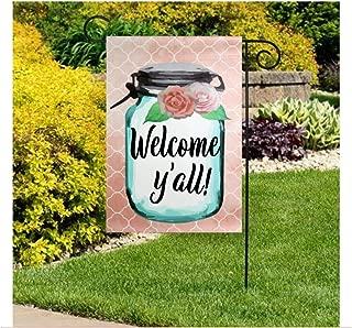 Dozili Mason Jar Garden Flag Spring Welcome Flag Summer Yard Flags Welcome Y'all Garden Flag Welcome Y'all Flags Personalized Mason Jar Flag