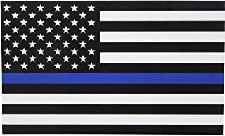 Best Thin Blue Line Flag Decal - 3x5 in. Black White and Blue American Flag Sticker for Cars and Trucks - in Support of Police and Law Enforcement Officers (1) Review
