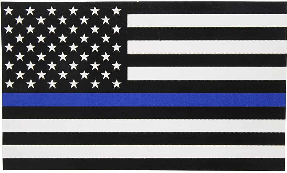 Thin Blue Line Flag Decal - X-Large 6x3.6 in. Black White and Blue American Flag Sticker for Cars and Trucks - In Support of Police and Law Enforcement Officers (XL)
