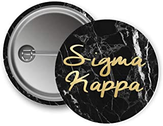 Sigma Kappa Sorority Button Dark Marble with Gold Script Pin Back Badge 2.25-inch Button Sig Kap