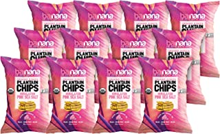 Barnana Organic Plantain Chips - Himalayan Pink Salt - Snack Size, 1.5 Ounce, 12 Pack Plantains - Salty, Crunchy, Thick Sl...