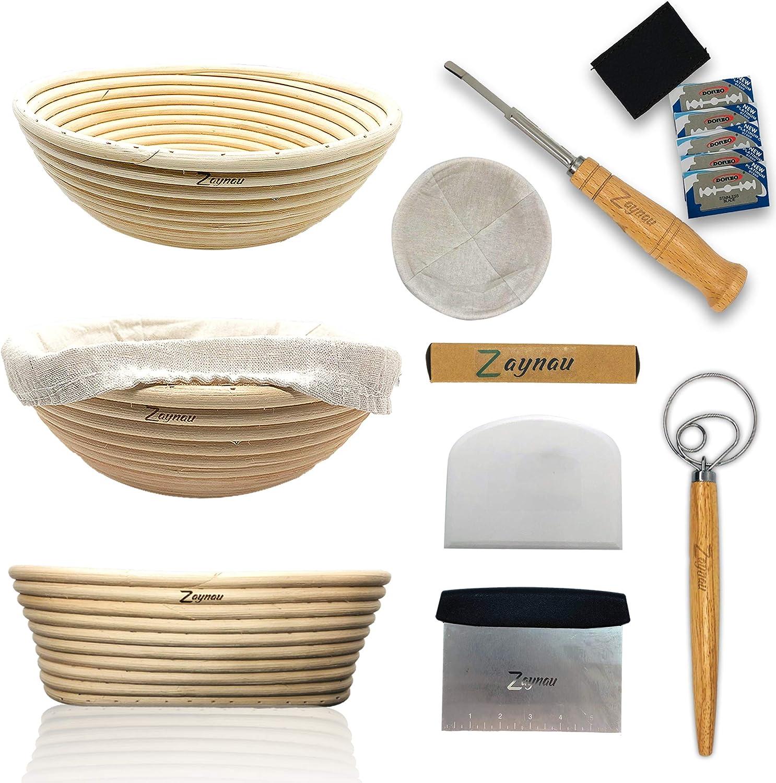 Zaynau Free Shipping New 10 Inch Round N Oval Banneton Set Basket Large-scale sale Proofing Bread W