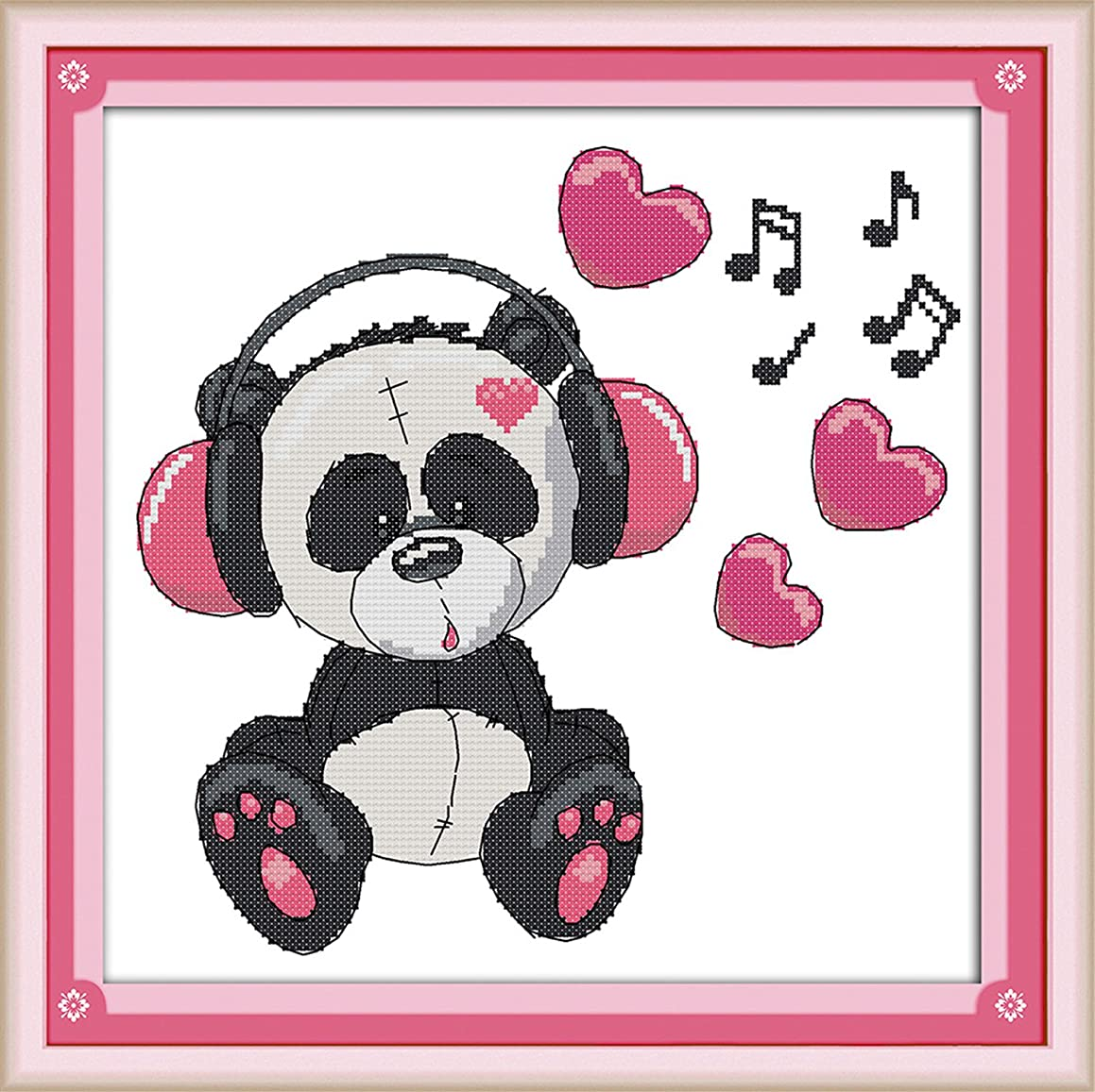 WHEEXLOCK Cross Stitch Kit Music Panda 11 Count 15.3
