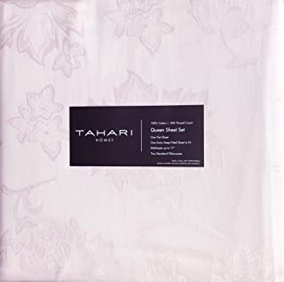 Tahari 4 Pc Cotton Sheet Set Solid Light Pale Shade of Pink with a Jacquard Floral Weave 300 Thread Count 100% Cotton Luxury - Primrose, Ash (Queen)