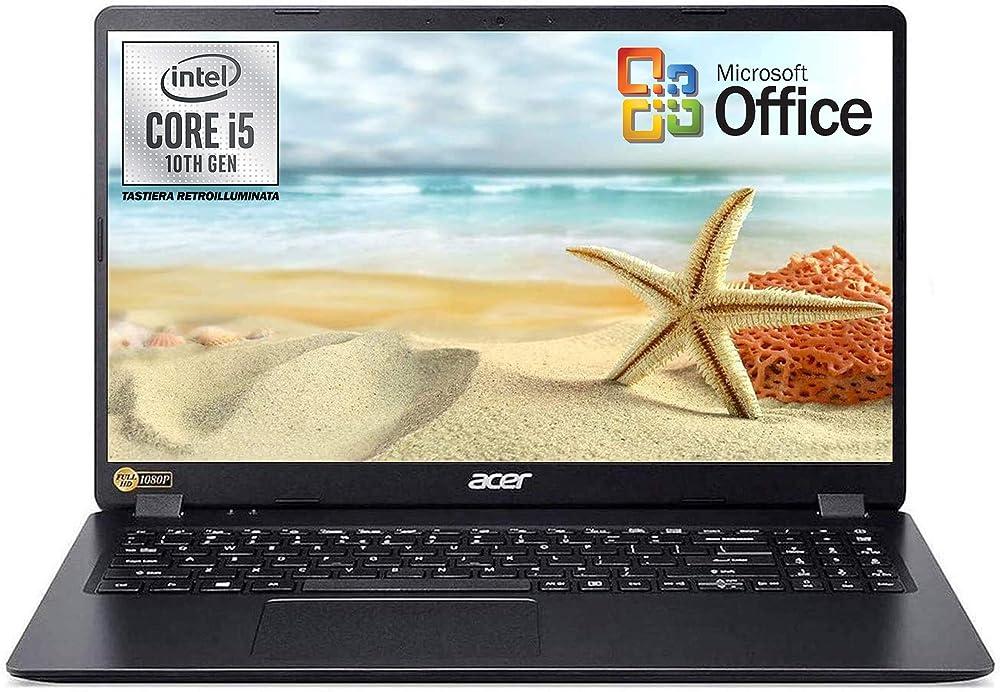 Acer notebook pc portatile ssd 512 gb intel quad core i5 di 10th ram 8gb win 10 pro office 2019 EX215-51-57HH