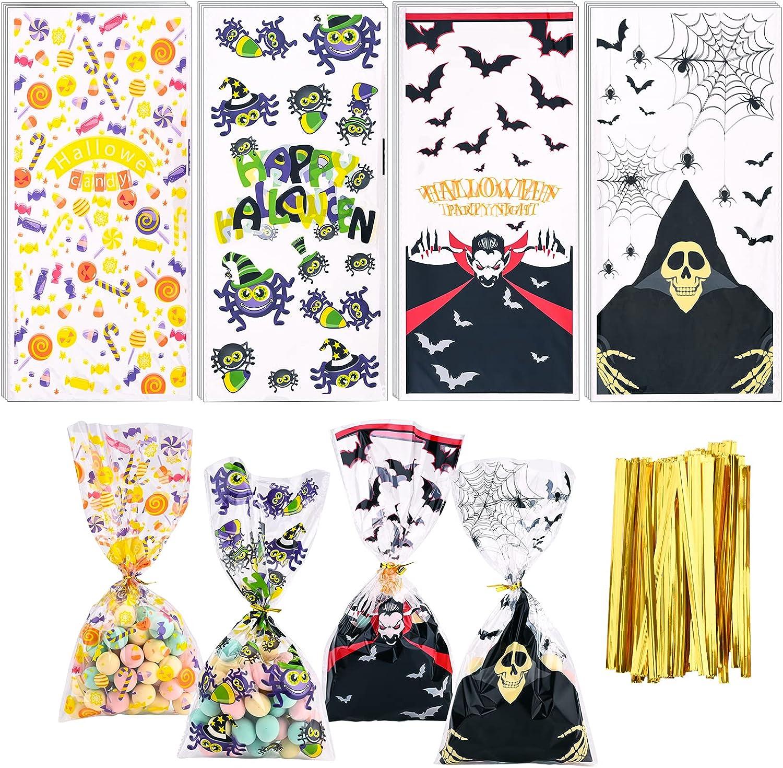 Gukasxi 200 Pieces Halloween Popular standard Cello Bags Max 48% OFF 4 De Tie Twist with