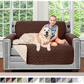 Amazon Com Sofa Shield Original Patent Pending Reversible Chair Protector For Seat Width Up To 48 Inch Furniture Slipcover 2 Inch Strap Chairs Slip Cover Throw For Pets Kids Cats Armchair Paw Gray