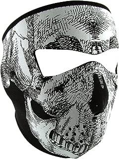ZANheadgear Neoprene Full Face Mask, Black and White Skull Face, Glow in the Dark
