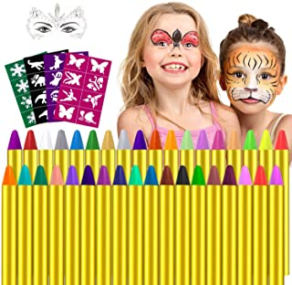 Pinturas Cara,Seguridad no tóxica Pintura Facial para Niños,36 colores Pintura Facial y corporales Crayons de Pintura,Ideal para Carnaval,Cosplay,Fiestas Temáticas - Regalo de Los Niños