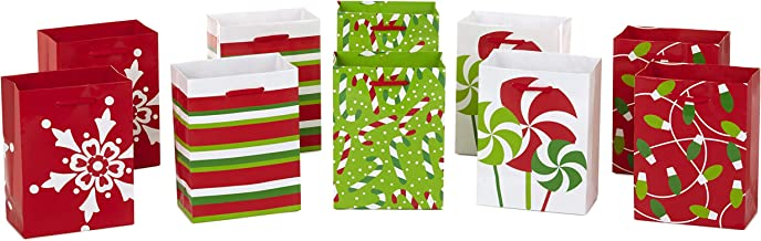 """Image Arts 5"""" Small Holiday Gift Bags, Peppermint (Pack of 10)"""