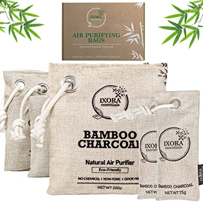Ixora Essentials Bamboo Charcoal Air Purifying Bag 5 Pack of Charcoal Odor Absorber