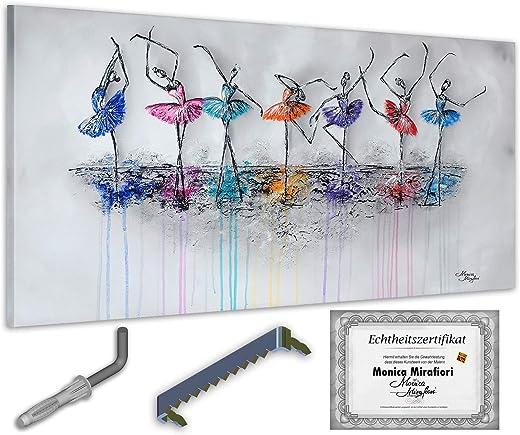 Monica Mirafiori I Gemälde Dancing I 140x70cm | XXL Leinwandbild handgemalt | Acrylgemälde auf Leinwand | Sehr großes Acrylbild auf Keilrahmen