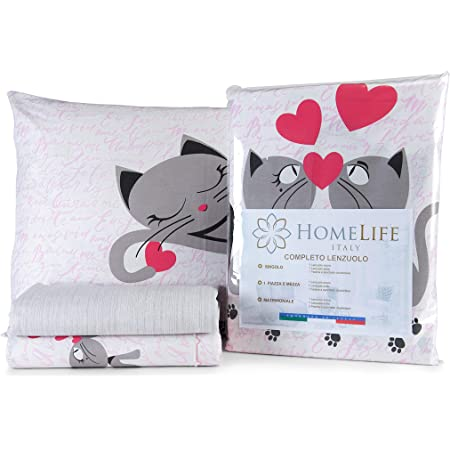 Homelife Set Lenzuola Letto Matrimoniale Cotone Gattini Made In Italy Completo 2 Piazze Federe