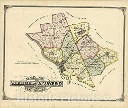 Historic 1875 Map - Combination Atlas map of Mercer County, New Jersey - Map of Mercer County, N.J. - New Historical Atlas of Mercer County, New Jersey : 44in x 37in