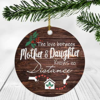 Merry Christmas Ornament Two State Map Massachusetts Guam - The Love Between Mother And Daughter Knows No Distance - Christmas Ideas Gift Long Distance Mom And Daughter Ornament 3