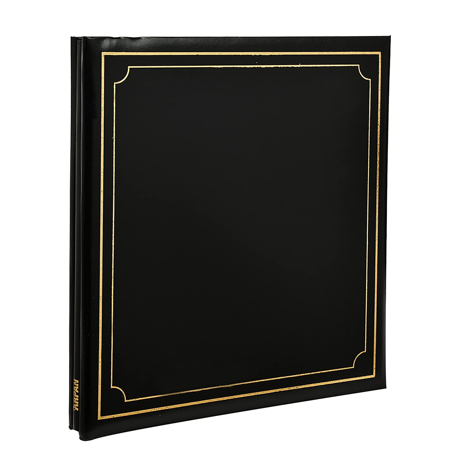 ARPAN Extra-Large 32x26cm Self Adhesive Photo Album 24/Sheets 48/Sides Leather Look Padded Cover Post bound (Black)