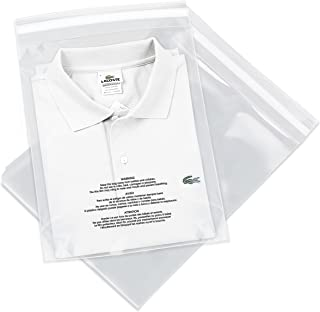 100 Count - 10 X 13 Self Seal 1.5 Mil Clear Plastic Poly Bags with Suffocation Warning - Permanent Adhesive by Spartan Industrial (More Sizes Available)